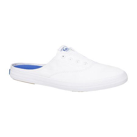 Keds Womens Moxie Mule Round Toe Slip-On Shoe, 6 Medium, White