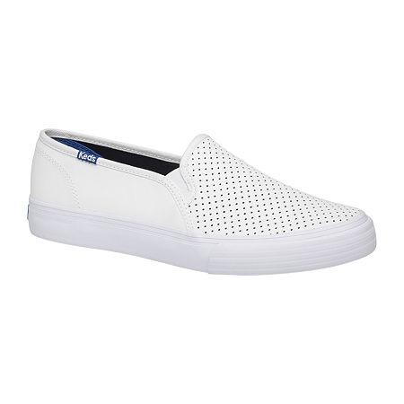 Keds Womens Double Decker Slip-On Shoe, 6 Medium, White