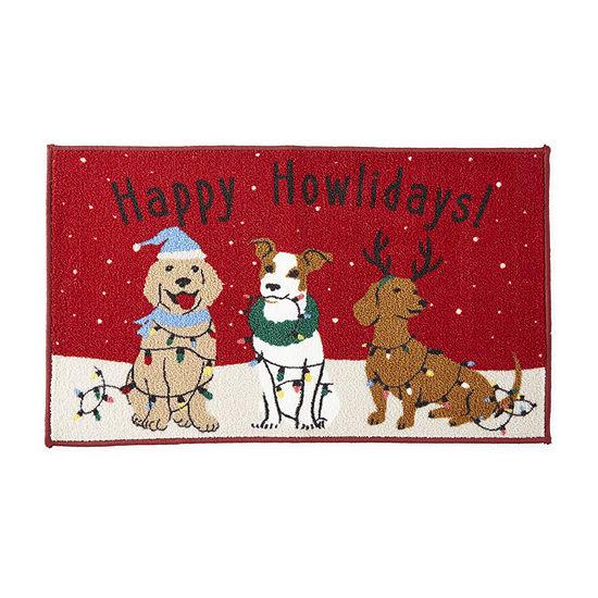 North Pole Trading Co. Happy Howlidays Dogs Rectangular Indoor Doormat