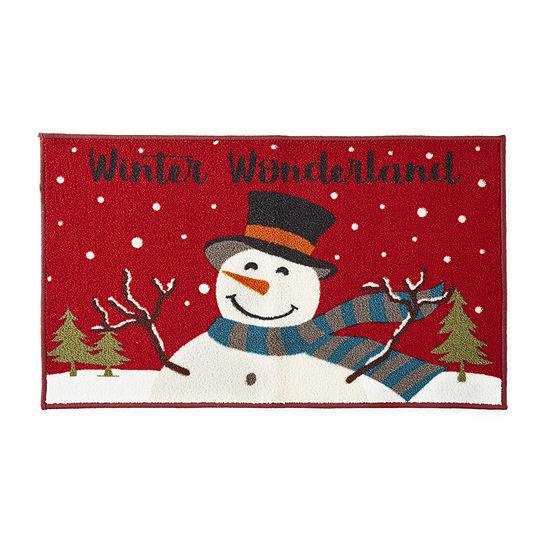 North Pole Trading Co. Winter Wonderland Snowman Rectangular Indoor Doormat