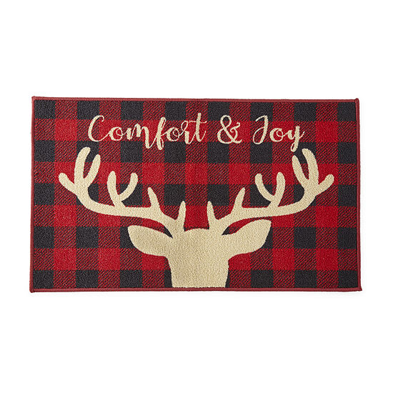 North Pole Trading Co. Comfort & Joy Buffalo Check Deer Rectangular Indoor Doormat
