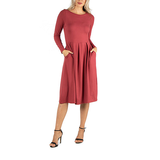 24/7 Comfort Apparel Midi Fit and Flare Dress