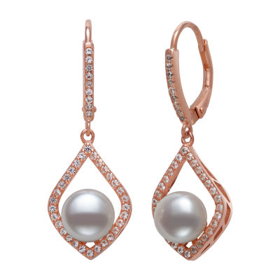 White Cultured Freshwater Pearl 14K Rose Gold Over Silver Drop Earrings