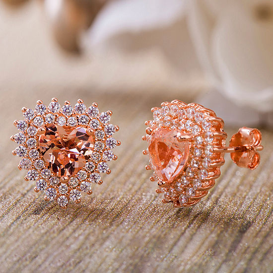 Inspired By You Plus_Size Simulated Pink Morganite 14K Rose Gold Over Silver 14.1mm Stud Earrings