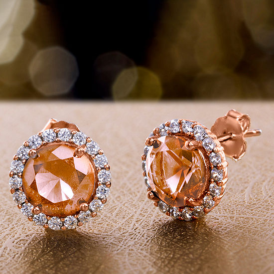 Inspired By You Plus_Size Simulated Pink Morganite 14K Rose Gold Over Silver 11.1mm Stud Earrings