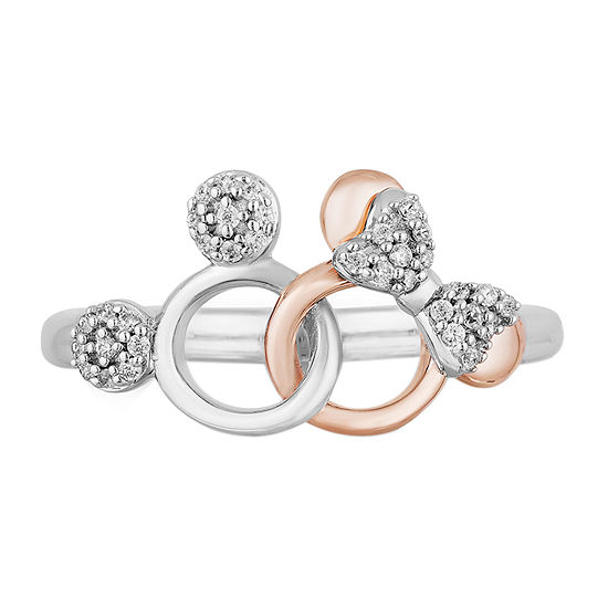 Disney Classics Womens 1/10 CT. T.W. Genuine Diamond 14K Rose Gold Over Silver Mickey Mouse Cocktail Ring