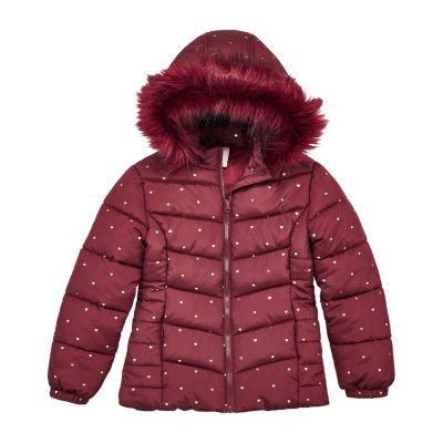 Arizona Girls Hooded Faux Fur Trim Heavyweight Puffer Jacket