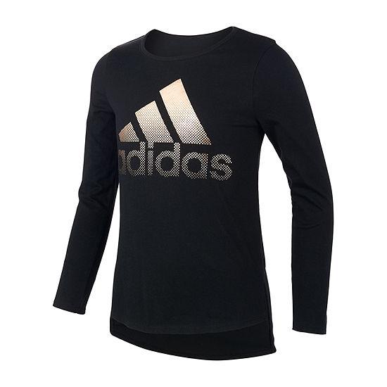 adidas Girls Round Neck Long Sleeve Graphic T-Shirt - Preschool