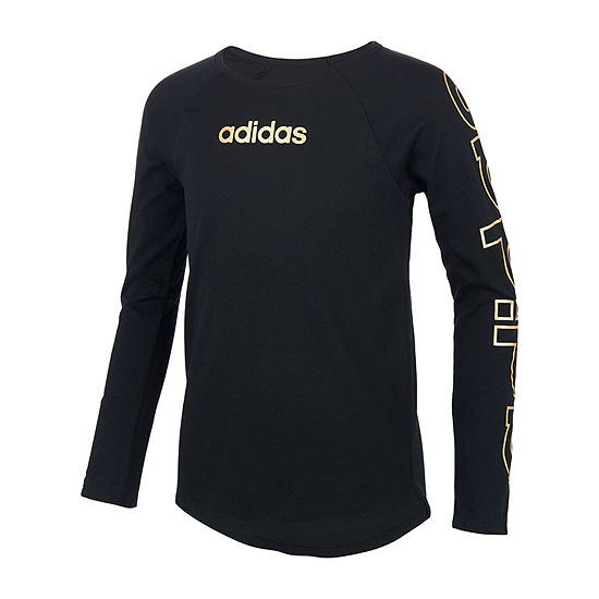 adidas Little Girls Round Neck Long Sleeve Graphic T-Shirt