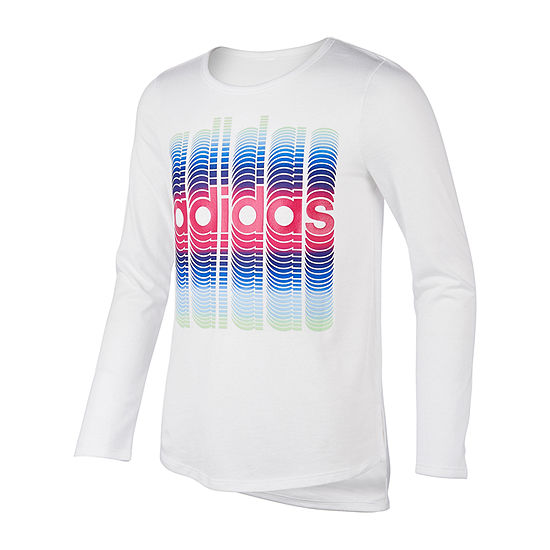 adidas Girls Round Neck Long Sleeve Graphic T-Shirt - Preschool