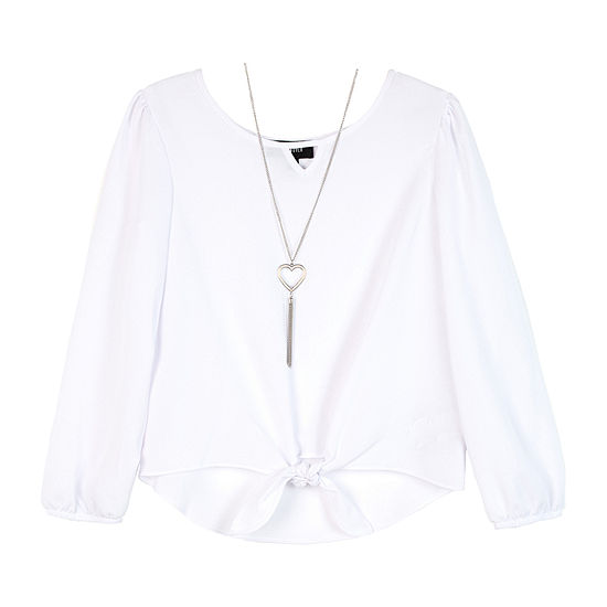 by&by girl Girls Keyhole Neck Long Sleeve Blouse - Big Kid