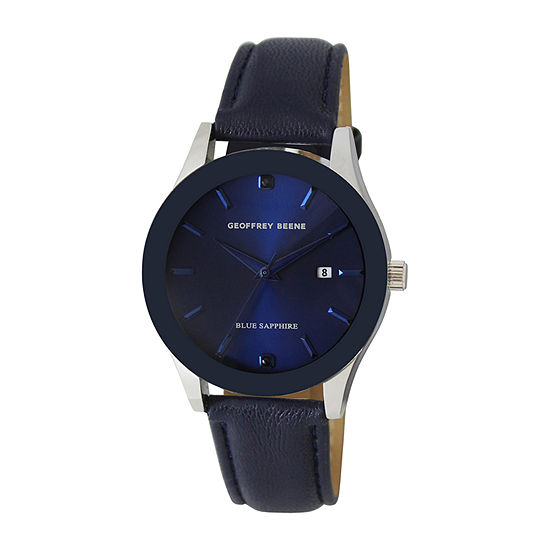 Geoffrey Beene Blue Sapphire Mens Blue Strap Watch-Gb8202sl