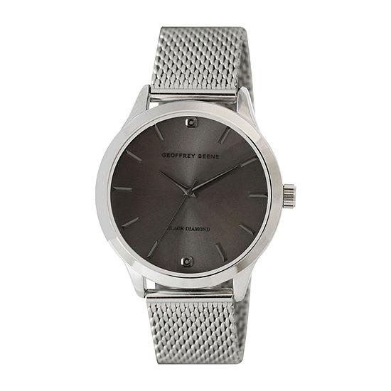 Geoffrey Beene Genuine Black Diamond Accent Mens Silver Tone Bracelet Watch - Gb8207sl