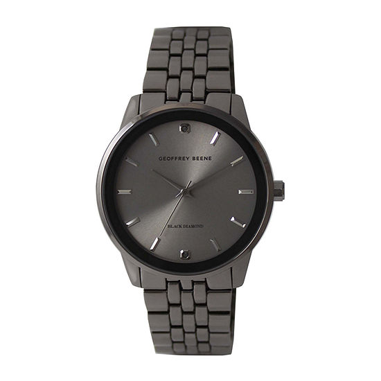 Geoffrey Beene Genuine Black Diamond Accent Mens Gray Bracelet Watch - Gb8165gu