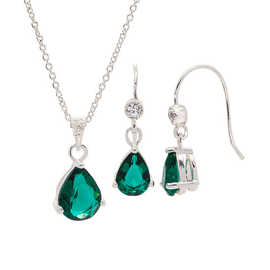 Sparkle Allure 2-pc. Green Cubic Zirconia Pure Silver Over Brass Jewelry Set
