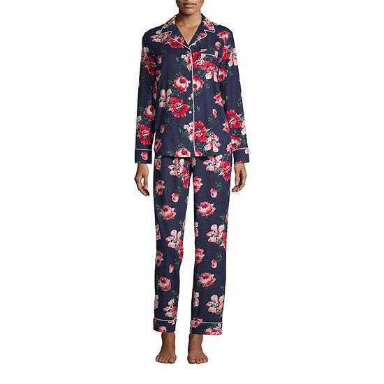 Liz Claiborne Long Sleeve Womens 2-pc. Pant Pajama Set -Petite