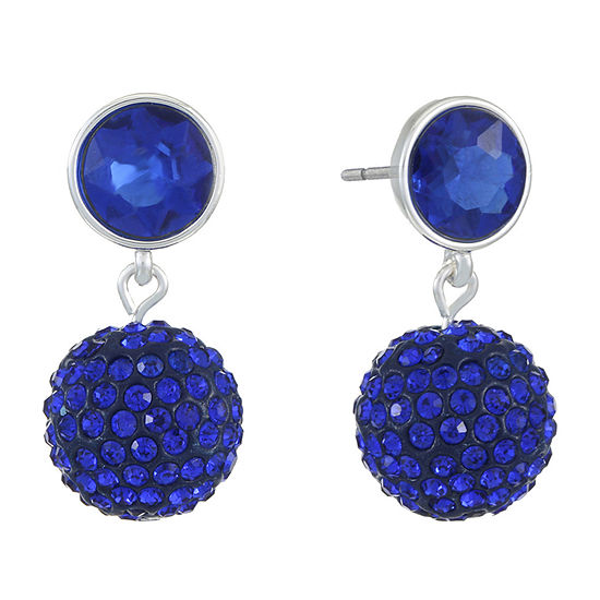 Liz Claiborne Blue Round Drop Earrings