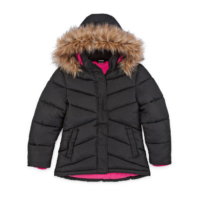 Arizona Girls Hooded Faux Fur Trim Heavyweight Puffer Jacket