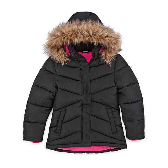 Arizona - Girls Hooded Faux Fur Trim Heavyweight Puffer Jacket