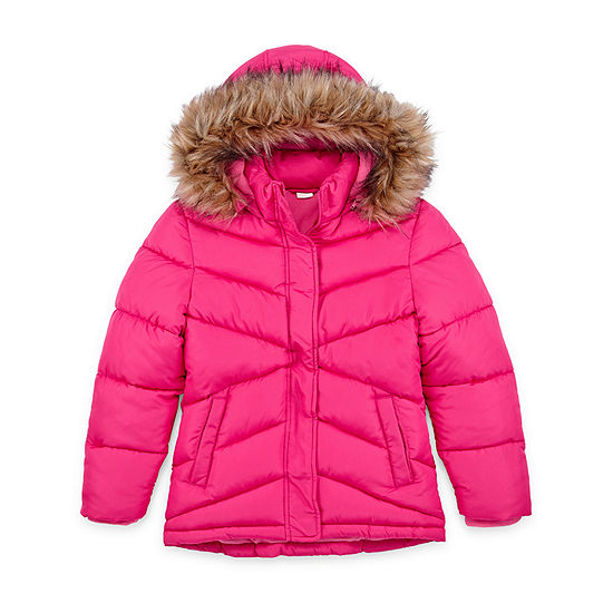Arizona - Girls Hooded Fleece Lined Faux Fur Trim Heavyweight Puffer Jacket-Big Kid