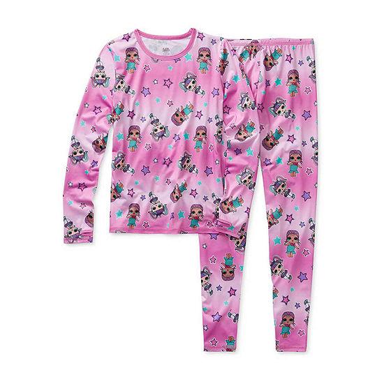Cuddl Duds Girls Crew Neck Long Sleeve Thermal Set Preschool / Big Kid