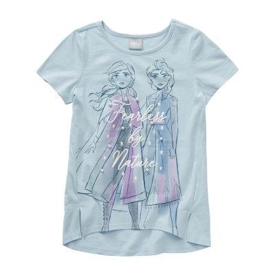 Disney's Frozen 2 Girls Crew Neck Short Sleeve Embellished Graphic T-Shirt - Preschool / Big Kid