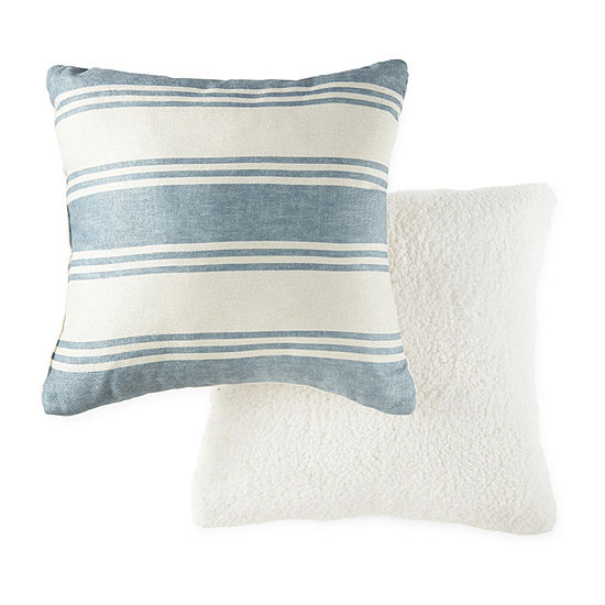 JCPenney Home Stripe With Chenille/Sherpa Multi-Pack Square Throw Pillow