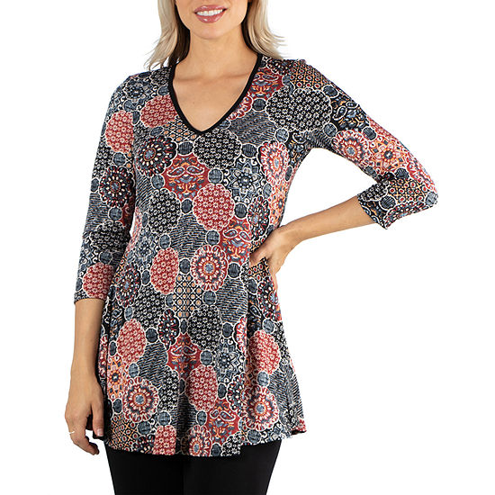 24/7 Comfort Apparel Black and Red Tunic Top