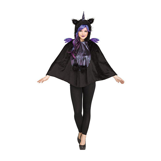 Adult Dark Unicorn Hooded Poncho Womens Costume One Size Fits Most