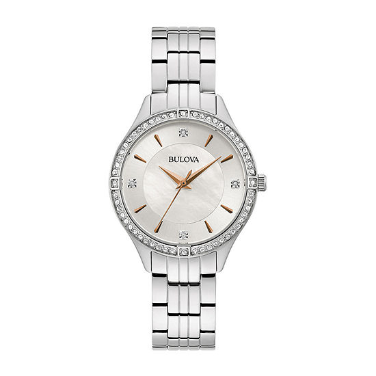 Bulova Womens Silver Tone Stainless Steel Bracelet Watch-96l283