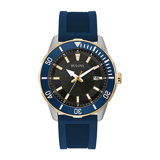 Bulova Mens Blue Strap Watch-98b345