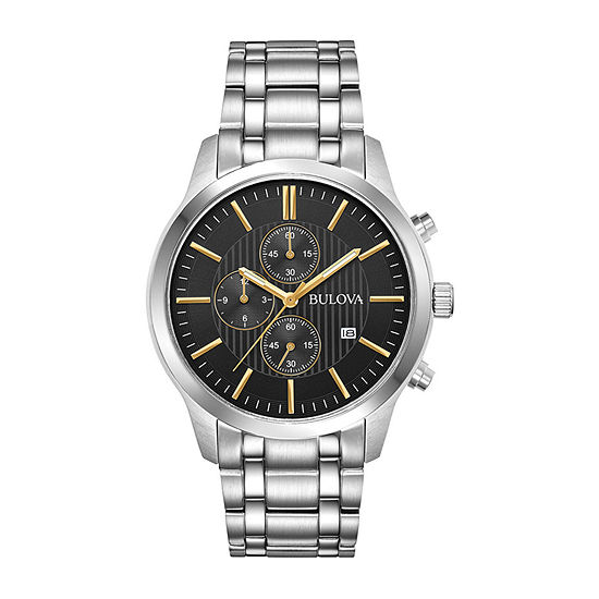 Bulova Mens Chronograph Silver Tone Stainless Steel Bracelet Watch-96b305