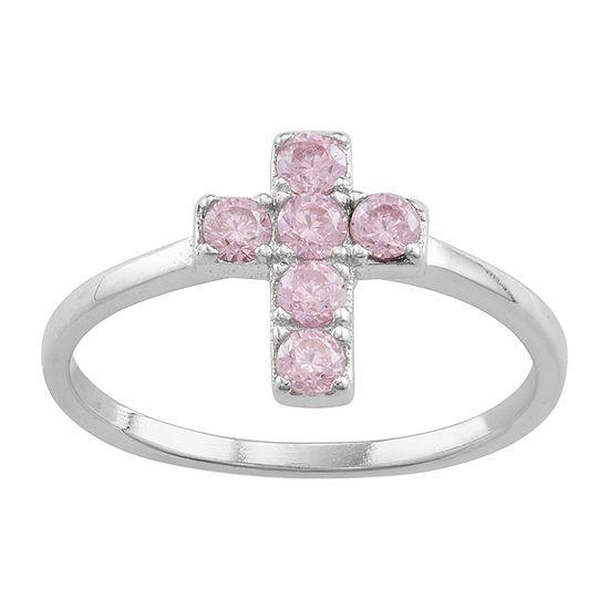 Girls Purple Cubic Zirconia Sterling Silver Heart Pendant Necklace