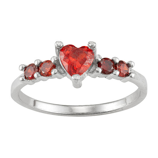 Girls Red Cubic Zirconia Sterling Silver Heart Cocktail Ring