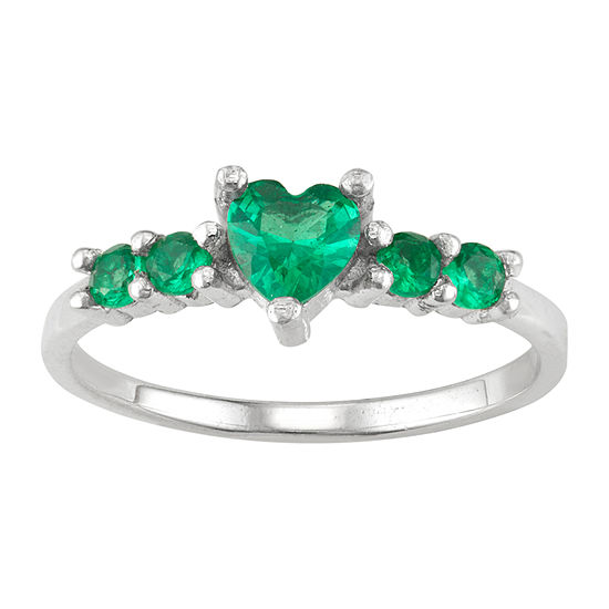 Girls Yellow Cubic Zirconia Sterling Silver Heart Cocktail Ring