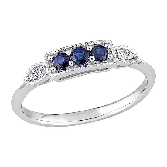 Womens Diamond Accent Genuine Blue Sapphire 10K White Gold 3-Stone Cocktail Ring