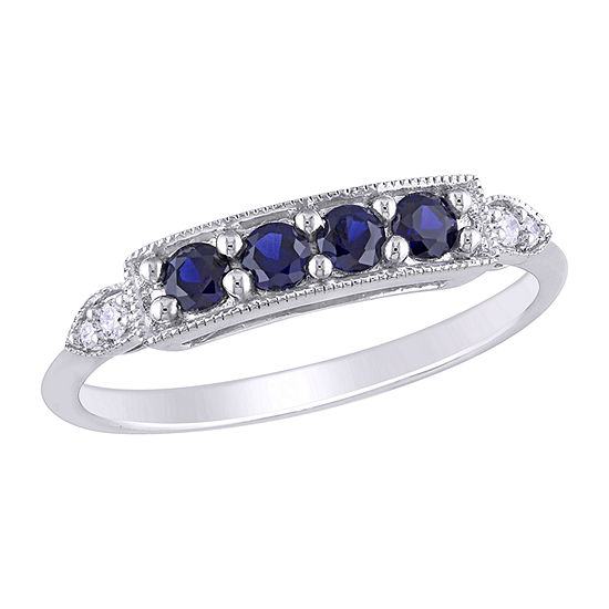 Womens Diamond Accent Lab Created Blue Sapphire 10K White Gold Anniversary Cocktail Ring