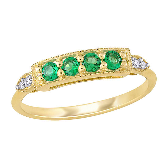 Womens Diamond Accent Lab Created Green Emerald 10K Gold Anniversary Cocktail Ring