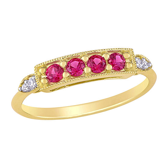 Womens Diamond Accent Lab Created Red Ruby 10K Gold Anniversary Cocktail Ring