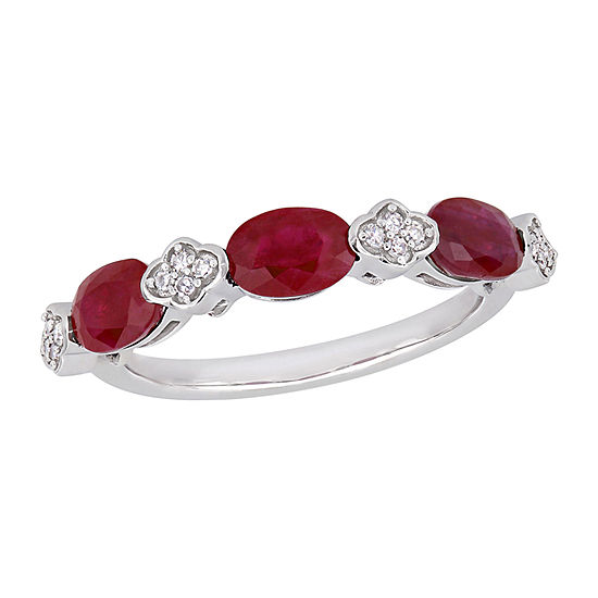 Womens 1/10 CT. T.W. Lead Glass-Filled Red Ruby 14K White Gold Anniversary Cocktail Ring