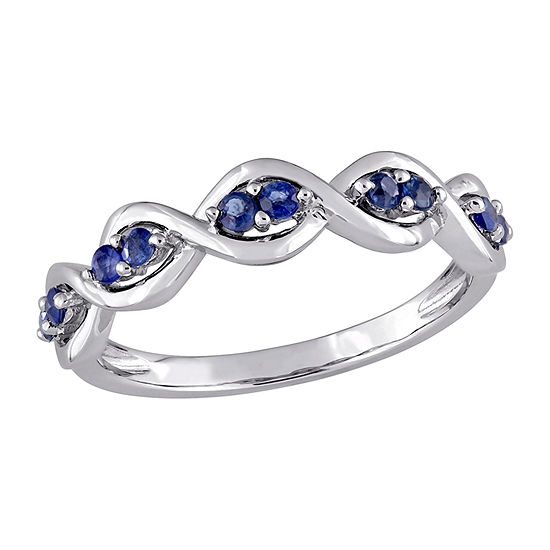 Womens Genuine Blue Sapphire 14K White Gold Anniversary Cocktail Ring