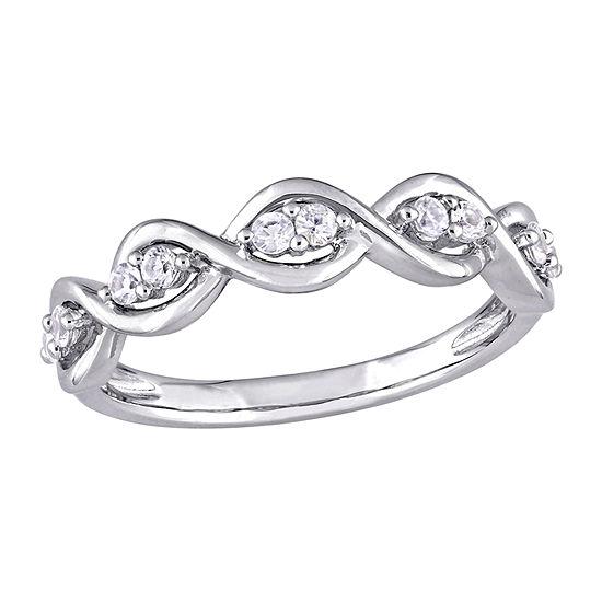 Womens Genuine White Sapphire 14K White Gold Anniversary Cocktail Ring