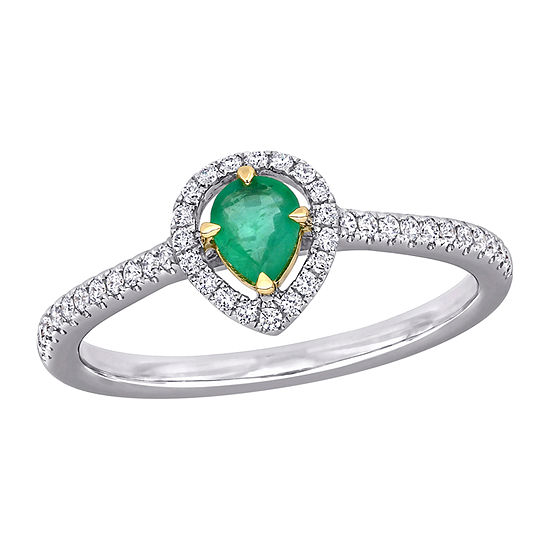 Womens 1/5 CT. T.W. Genuine Green Emerald 14K Two Tone Gold Halo Cocktail Ring
