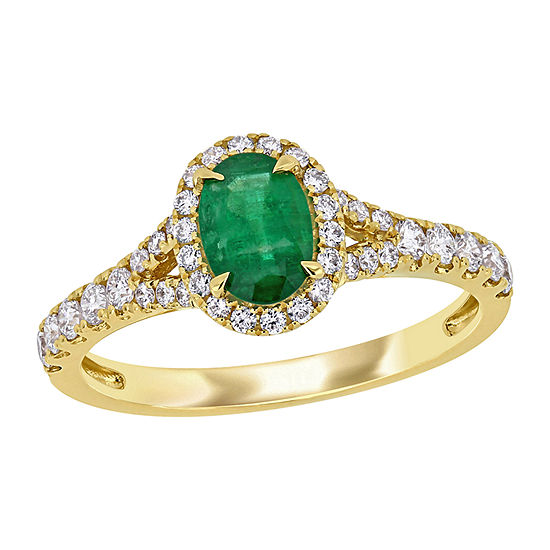 Womens 1/2 CT. T.W. Genuine Green Emerald 14K Gold Halo Cocktail Ring