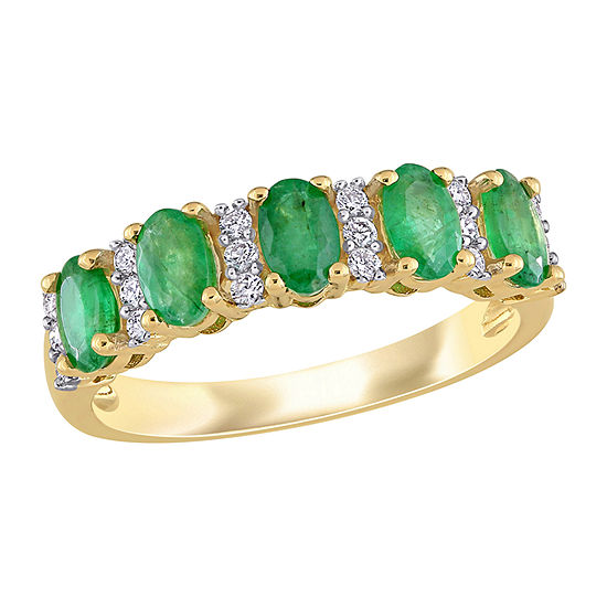 Womens 1/6 CT. T.W. Genuine Green Emerald 14K Gold Anniversary Cocktail Ring