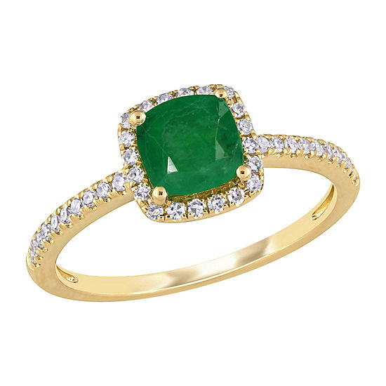 Womens 1/5 CT. T.W. Genuine Green Emerald 14K Gold Halo Cocktail Ring