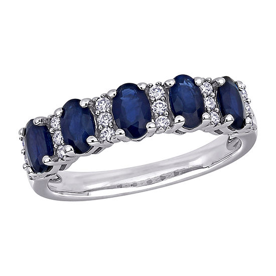Womens 1/6 CT. T.W. Genuine Blue Sapphire 14K White Gold Anniversary Cocktail Ring