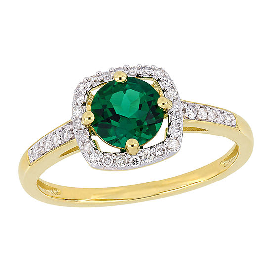 Womens 1/7 CT. T.W. Lab Created Green Emerald 10K Gold Halo Cocktail Ring