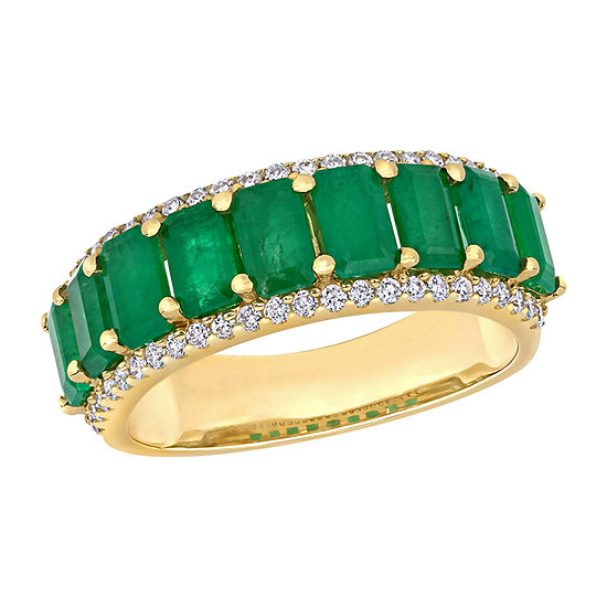 Womens 1/3 CT. T.W. Genuine Green Emerald 14K Gold Eternity Cocktail Ring