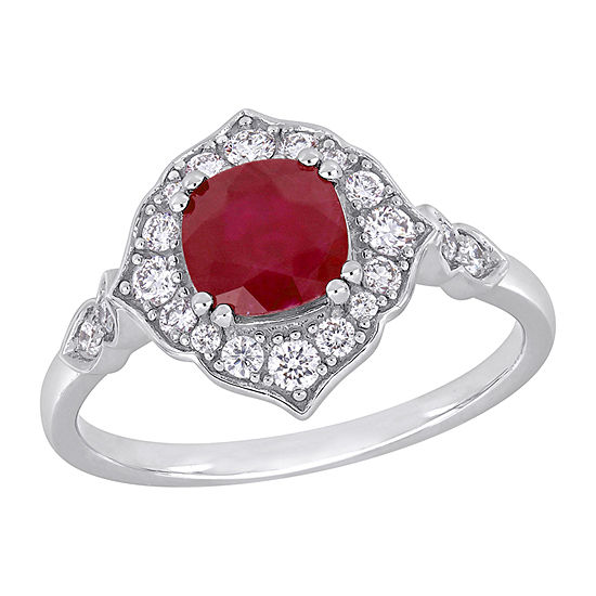 Womens 1/3 CT. T.W. Lead Glass-Filled Red Ruby 14K White Gold Halo Cocktail Ring